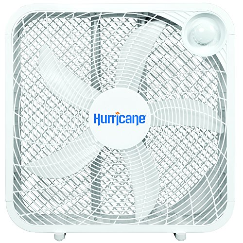 Hurricane Box Fan - 20 Inch | Classic Series | 3 Energy Efficient Speed Settings, Compact Design, Durable, Lightweight - ETL Listed, White - 20 Space Equipment