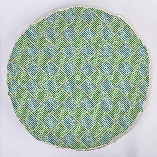 Round Decorative Throw Pillow Floor Meditation Cushion Seating/Diagonally Striped Squares Diamond Line Modern Checkered Pattern Decorative/for Home Decoration 17