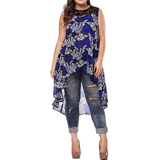 df2b8a9ca9717 Minisoya Plus Size Women Lace Casual Cami Long Tunic Tank Dress Tops Blouse High  Low Irregular