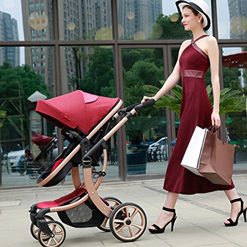 Baby Stroller High Landscape Two way shockproof baby can sit and sleep Baby use four seasons Red by Aimle (Image #2)