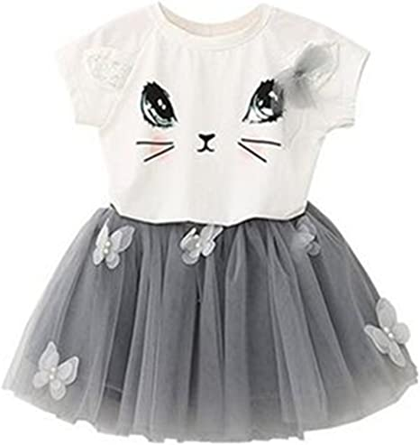 Puseky Toddler Baby Girls Cute Cat T-shirt+Floral Shorts Kids Summer Clothes Set 3-4 Years, White+Floral