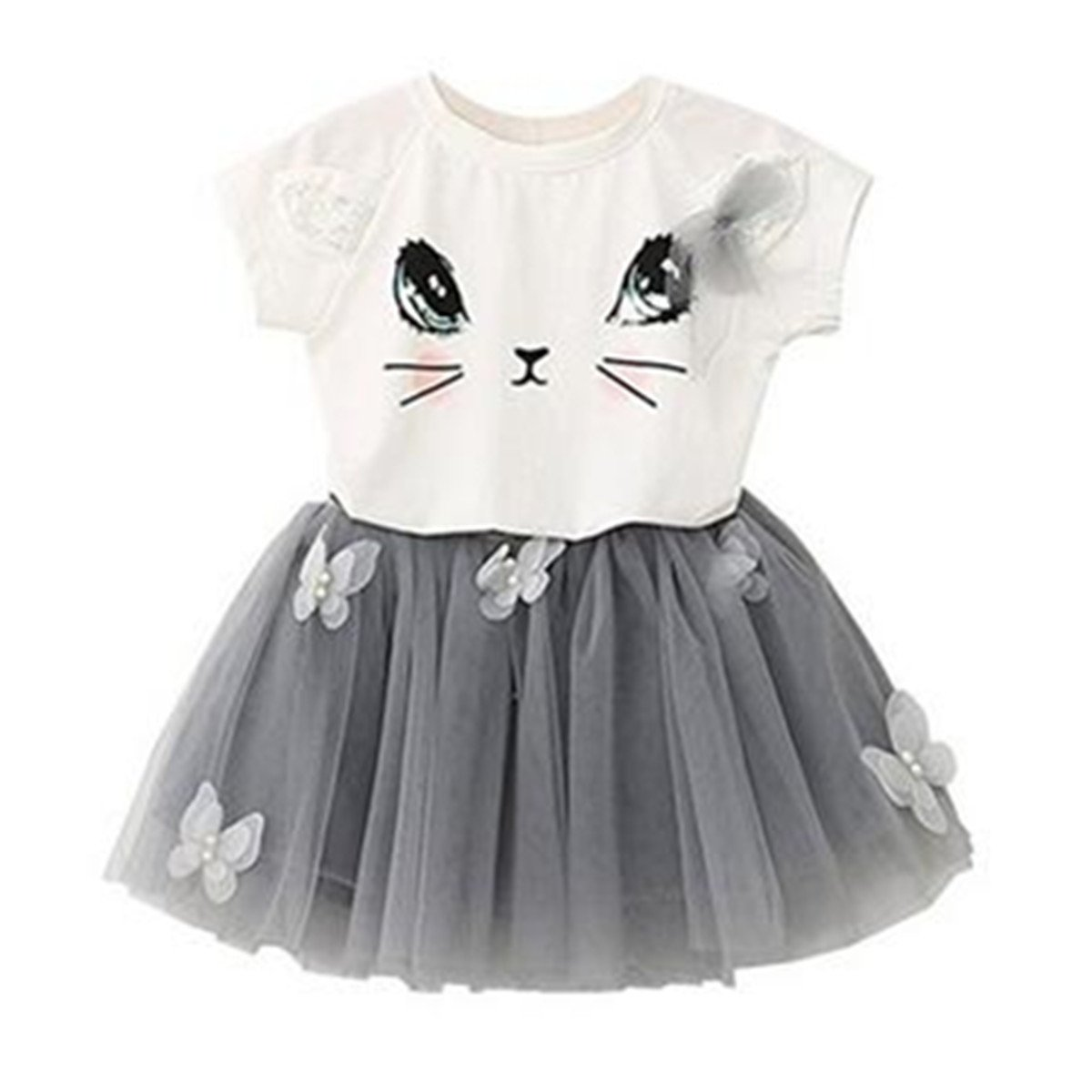 Puseky Baby Girl Cute Cat T-shirt + Butterfly Mesh Bubble Skirt Kids Clothes Set (1-2 Years, White+Grey)