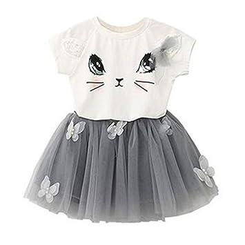 Puseky Baby Girl Cute Cat T Shirt Butterfly Mesh Bubble Skirt Kids