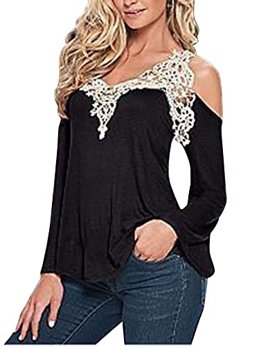 Mujeres Camisetas Manga Larga Blusas De Encaje Flores Lace Crochet Camisas Shoulder Off Shirt Negro S