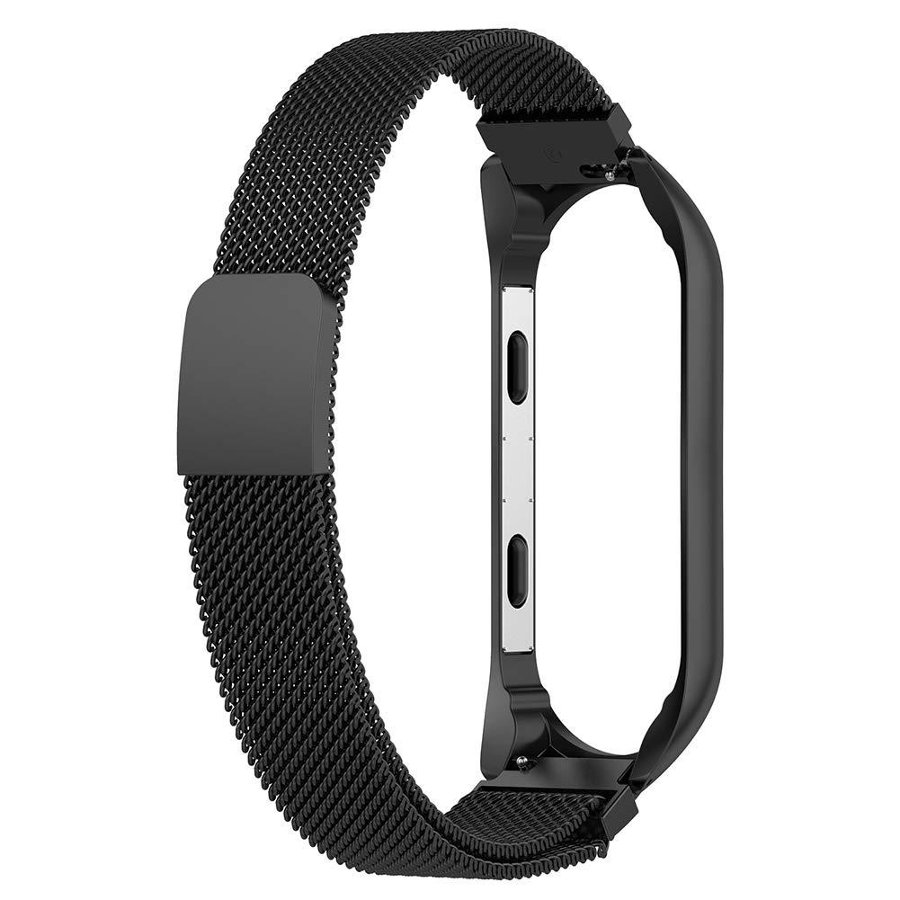 Domybest Correa de Reloj de Pulsera de Correa Ajustable de Acero Inoxidable, con Marco, para Xiaomi MI Band 3, Transpirable para Usar (Negro)