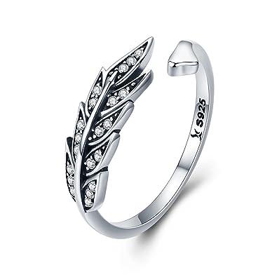 Bague réglable pour femme - En argent sterling 925 - Motif ailes en plumes 556bf8c8891c