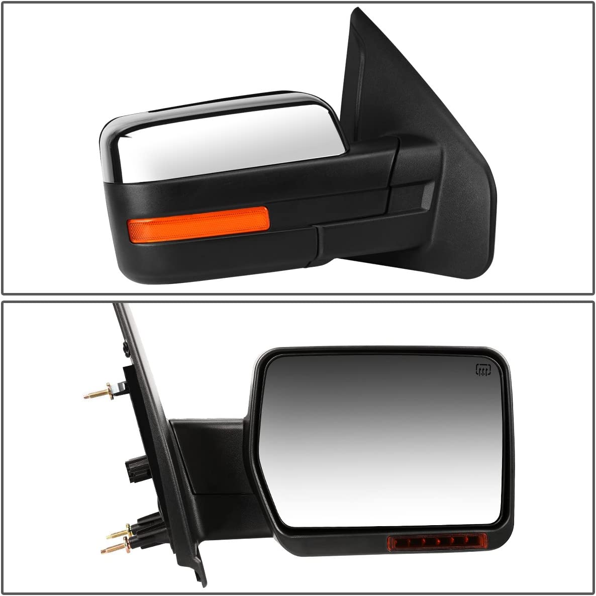 Right//Passenger Replacement for Ford F150 Chrome Powered Heated Glass Turn Signal Light Side Towing Mirror
