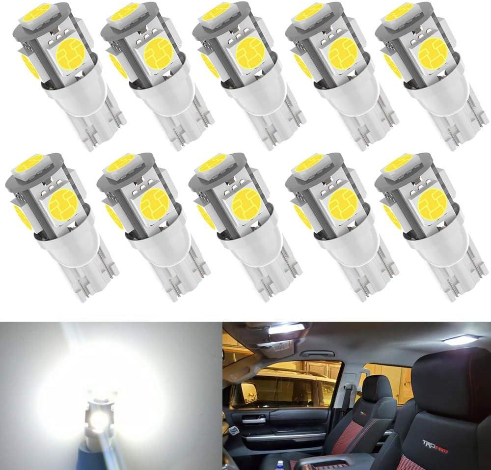 10pcs T10 194 168 Led Bulb 6000K White Light, Upgrade 5 SMD 5050 Chipset 2825 W5W 175 158 LED Light for Map Dome Door Courtesy License Plate Side Marker Light T10 Led Bulb