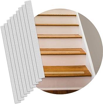 Tiras de escalera antideslizantes – 16 unidades – precortadas tiras de paso transparentes – 5 x 61 cm – transparentes/translúcidas para escaleras, peldaños, barcos, escaleras – interior/exterior – cinta antideslizante para escaleras: Amazon.es ...
