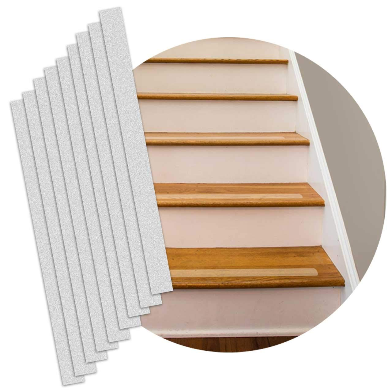 """Non-slip Stair Strips – 16 Pack – Pre-cut Step Strips – 2""""x24"""" – Opaque Stair Treads Grip for Stairs, Steps, Boats, Ladders – Indoor / Outdoor – Anti slip tape stair treads strips"""