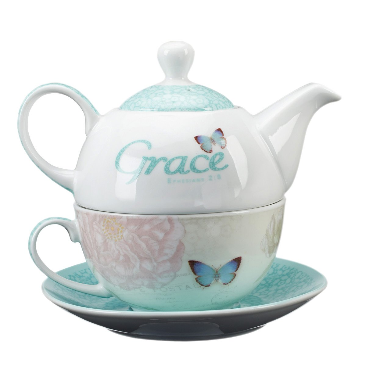 Botanic Butterfly Blessings ''Grace'' Tea-for-One Set by Christian Art Gifts (Image #2)