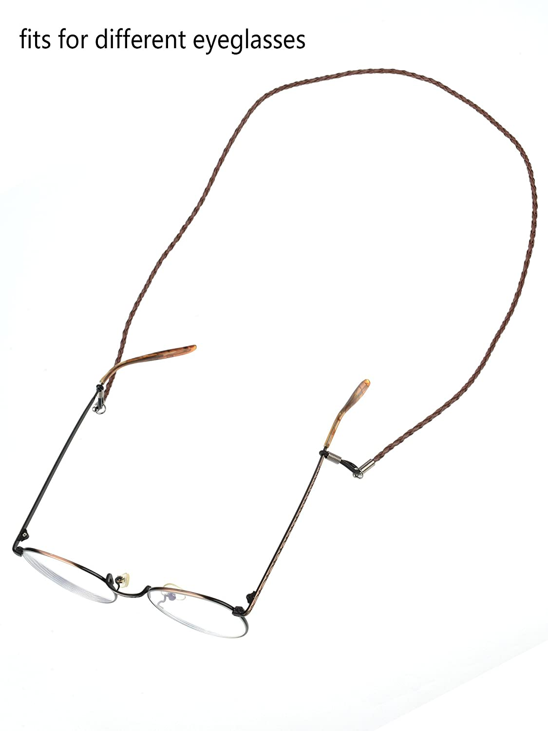 Mudder 5 Piece Eyeglass Chain PU Leather Glass Strap with 2 Piece Cleaning Cloth