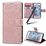 iPhone 6S Plus Stand Case,iPhone 6 Plus Wallet Case,iPhone 6S Plus Flip Case,iPhone 6 Plus PU Case Girl,SKYMARS Sunflower Creative Design Embossed PU Leather Flip Kickstand Cards Slot Wallet Magnetic Closure Protection Book Style Case for iPhone 6 Plus / 6S Plus 5.5 inch Sunflower