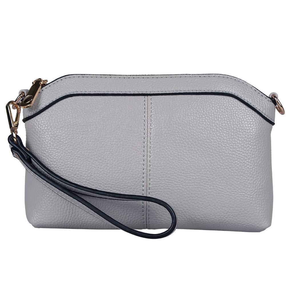 Diter Womens Leather Wristlet Zipper Clutch Wallet, Crossbody Bag Purse (Light Grey)