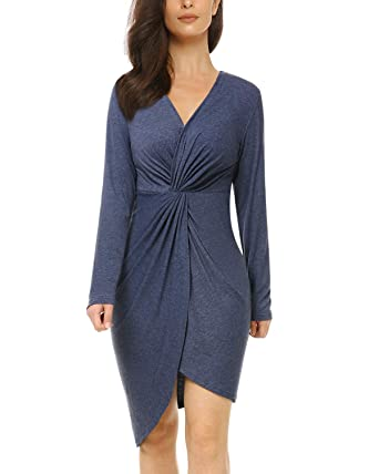 faacb533 Mixfeer Womens V Neck Bodycon Midi Dress Long Sleeve Draped Knotted Dress  Wrap Party Dress Twist
