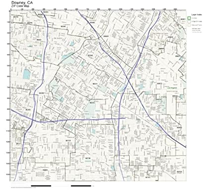Amazon.com: ZIP Code Wall Map of Downey, CA ZIP Code Map Not
