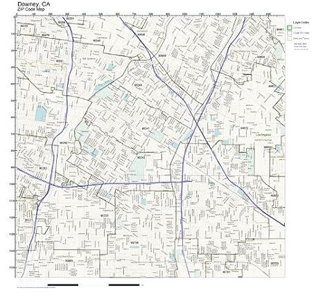 Zip Code Map For Downey Ca.Amazon Com Zip Code Wall Map Of Downey Ca Zip Code Map Laminated