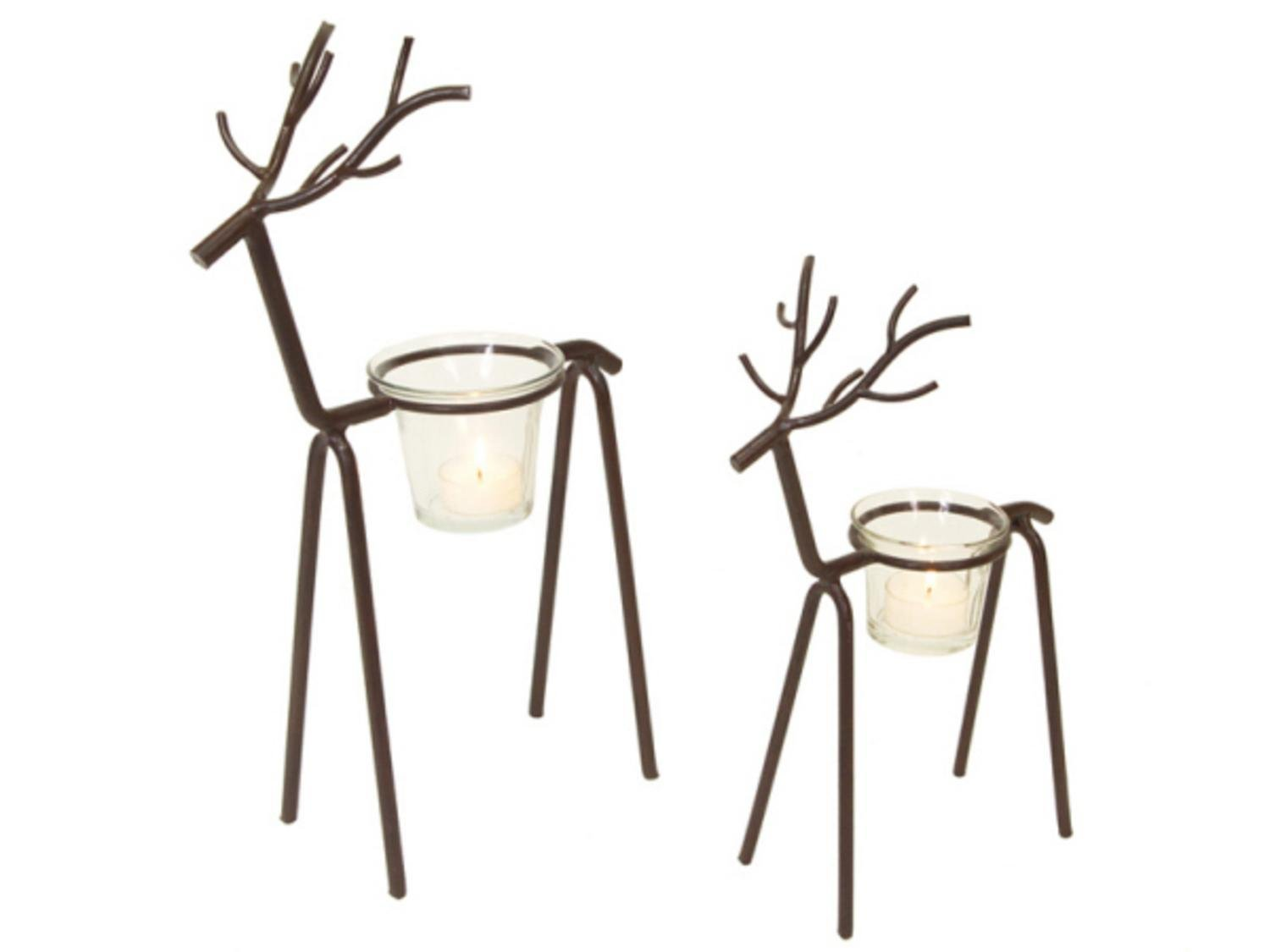 Set of 2 In the Birches Brown Stick Deer Christmas Tea Light Candle Holders