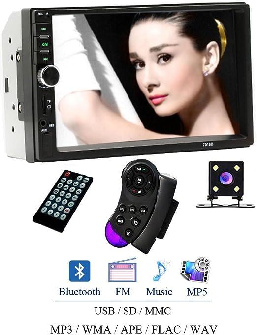 Camecho 7018B - Reproductor de Audio Universal para Coche (Pantalla táctil estéreo de 7 Pulgadas, 2 DIN, Compatible con Bluetooth TF, SD, MMC, USB FM, con Mini cámara de Seguridad): Amazon.es: Hogar