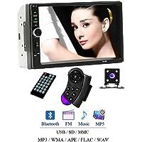 Camecho 7018b Auto Universal Audio 17,8 cm 2 DIN Autoradio stéréo écran Tactile Auto Radio vidéo Lecteur MP5 Prise en Charge Bluetooth TF SD MMC USB FM avec Mini caméra de recul