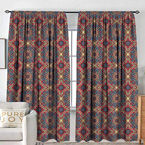 (Blackout Curtains for Bedroom Vintage,Arabesque Middle East Ottoman Oriental Famous Carpet Patten Like Glass Artwork,Multicolor,Darkening and Thermal Insulating Draperies 84
