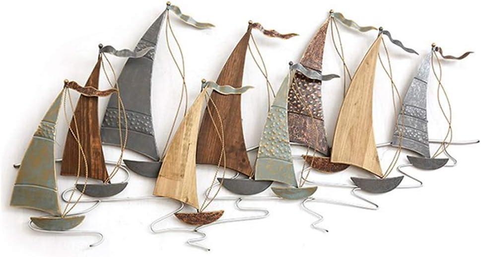 JSBVM Escultura de Pared de Metal |decoración de Paredes | Barco Mediterráneo Hierro Madera Combinado Mural Moderno