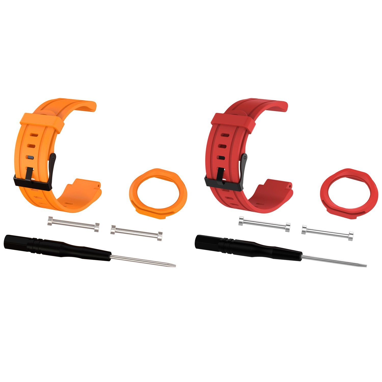 2pcs for Forerunner 225時計バンド、交換用ストラップバンドfor Garmin Forerunner 225 GPS Running Watch  Orange+Red B076JC2CHW