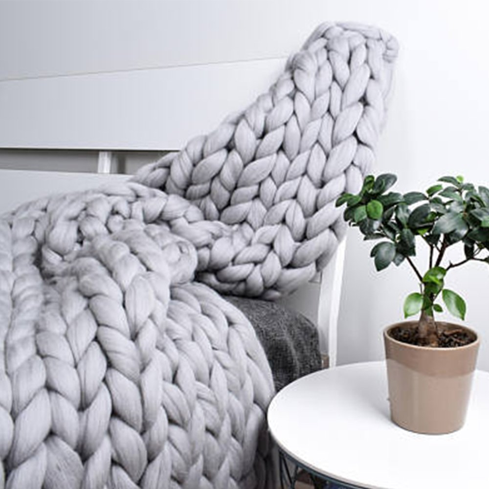 Light Grey Chunky Merino Wool Knit Throw,Giant Chunky Throw Arm Knit Blanket,51x67in Super Chunky Blanket,Super Thick Blanket,Decor Home & Bedroom by Clisil (Image #3)