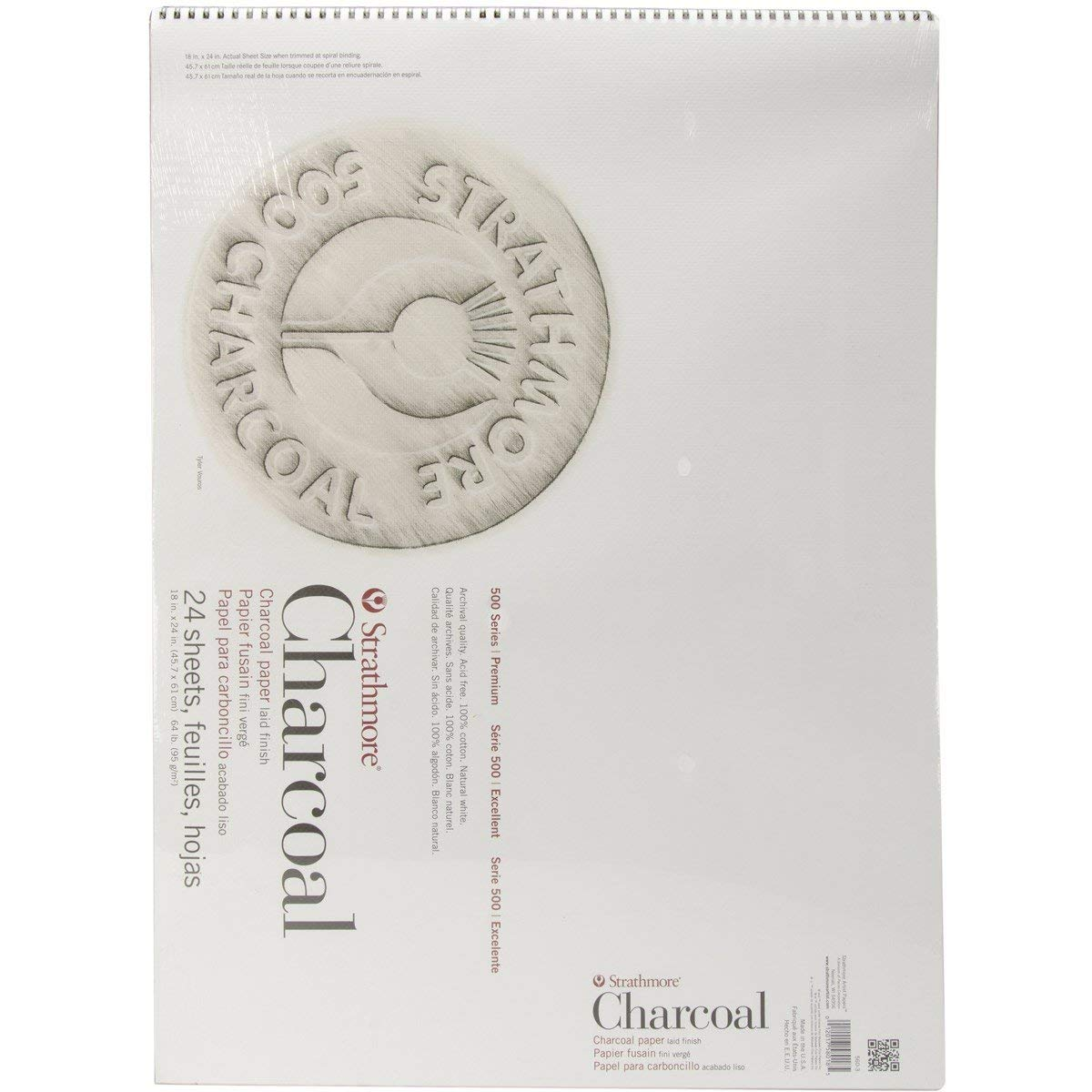 Strathmore Paper 500 Series Charcoal Pad 18''x24'' White 24 Sheets