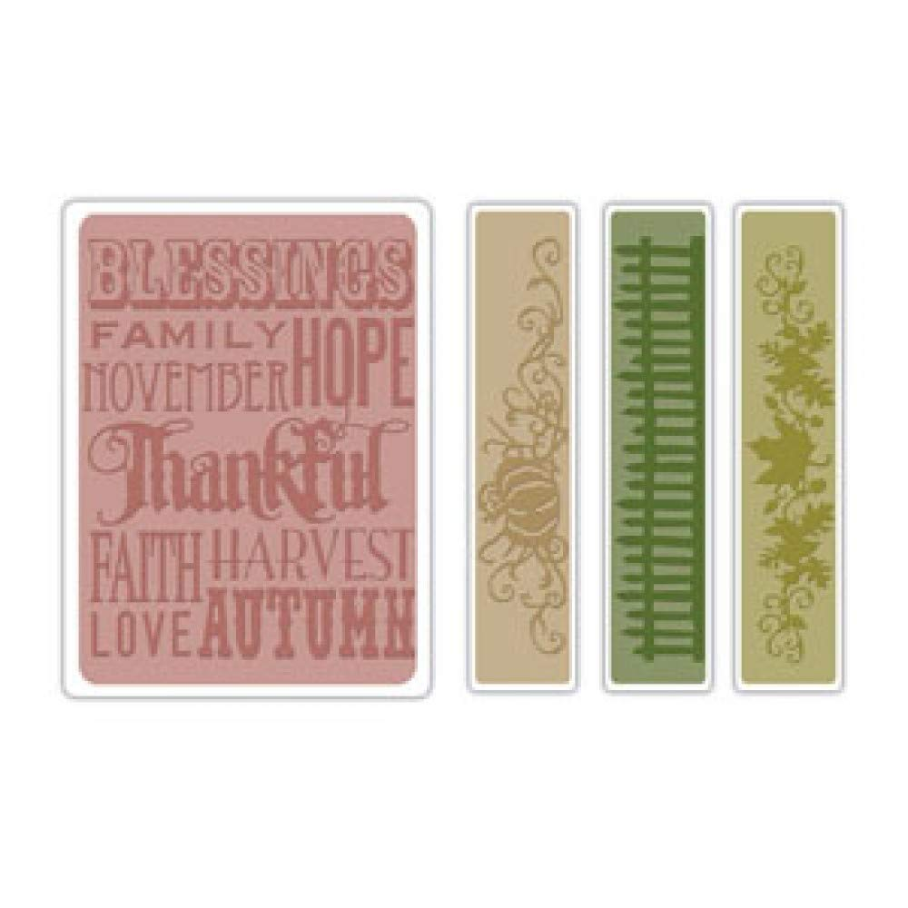 Sizzix Tim Holtz Texture Fades Alterations Collection Embossing Folders Thankful Background and Borders Set (12 Pack)