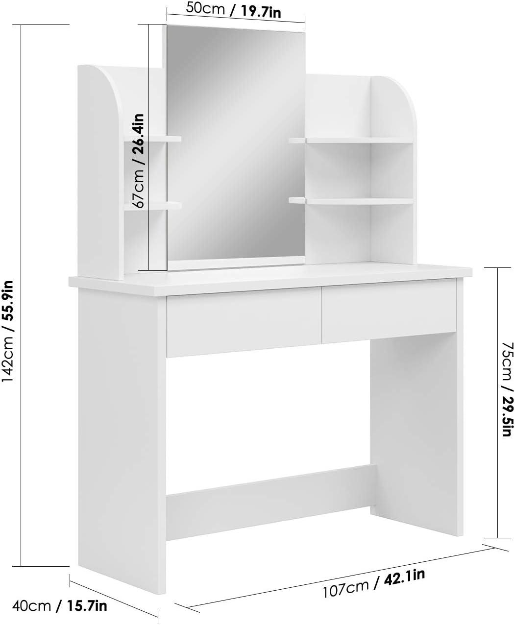 Homfa Coiffeuse Meuble Maquillage Table Commode avec Miroir et 6 /Étag/ère 2 Tiroirs Blanc 107x40x142cm