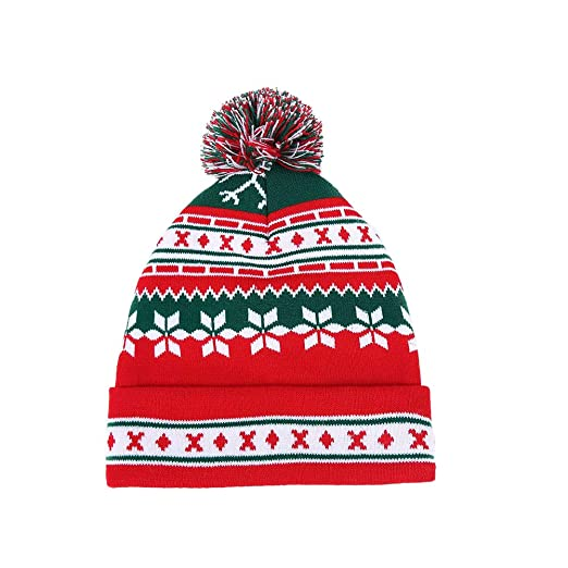 316519e0e57de2 Image Unavailable. Image not available for. Color: Wansan Christmas Hat  Winter Hats Red Green Beanie Ski Xmas Pom ...