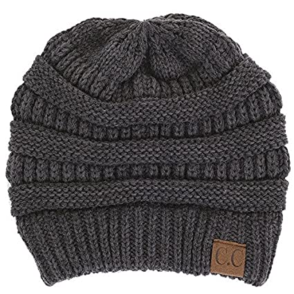 Amazon.com  OPYUT Autumn Winter Wool Cap Cap Outdoor Warm Horsetail Knitted  hat(Dark Grey)  Computers   Accessories d4fc340a800f