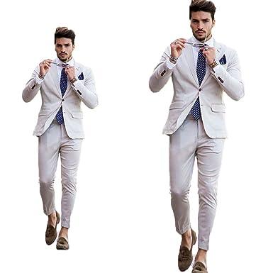 Bowith Beige Beach Wedding Men Suits Slim Fit Tuxedos Bride Groom