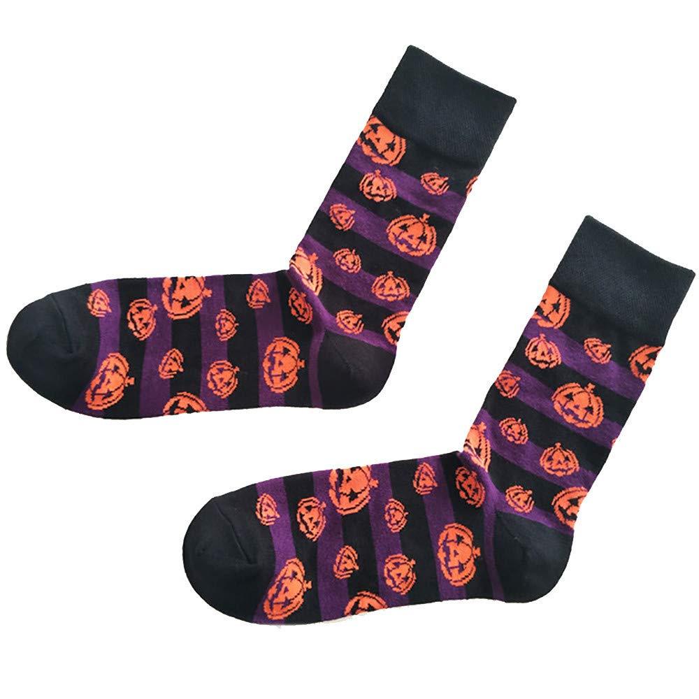 Theshy Halloween Unisex Cotton Sockings Bat Pumpkin Sweat Absorbent Breathable Socks