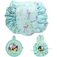 Dokpav Flamingo Makeup Bag Lazy Cosmetic Bag Toiletry Kit Organiser Portable Waterproof Large Capacity Drawstring Portable Travel Storage Bag for Women Girls