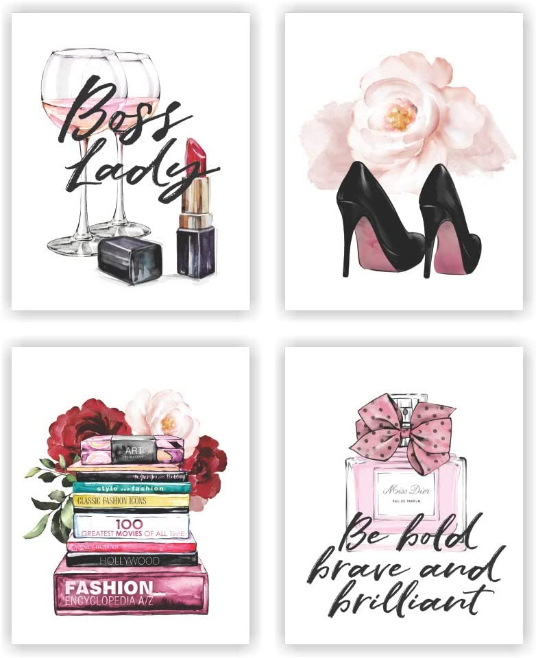 Unframed 8X10 Set of 4 Modern Fashion Woman Art Boss Lady Inspirational Quotes Saying High Heels Watercolor Art Print Inspirational Wall Art for Kids Room Nursery Decor wgn225