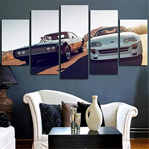 Artwcm Fast Furious Racing Cars 5PCS Oil Paintings Modern Canvas Prints Artwork Printed on Canvas Wall Art
