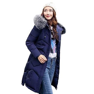 KEERADS Parka Mantel Damen Winter Lang Reißverschluss Taschen Dicke Warme  Kunstpelz Kapuze Dicke Dünne Jacke ( f6f8e62084