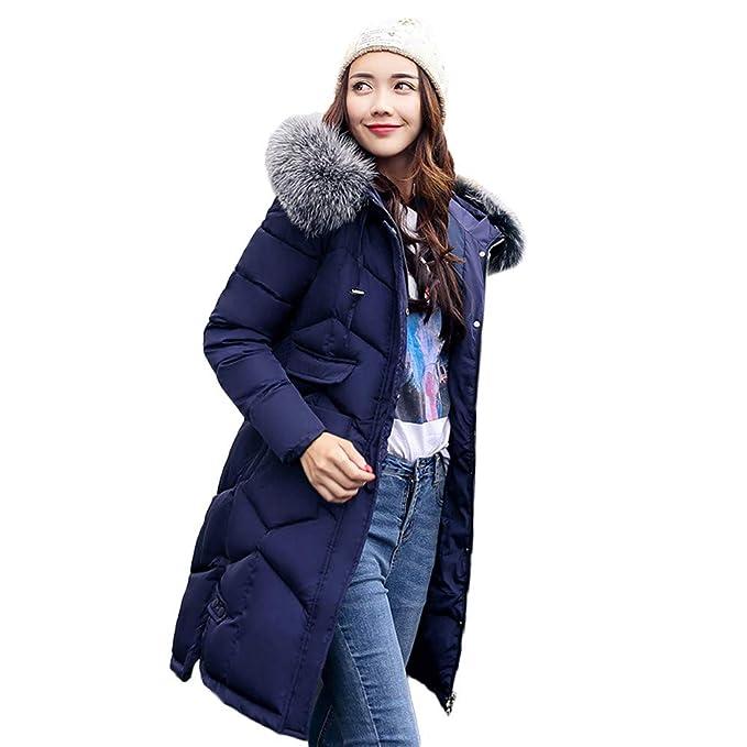 Beladla abrigo Mujer Largo Chaqueta Abajo Parka Espesar con Capucha Pelaje Collar De Invierno para Mujers: Amazon.es: Ropa y accesorios