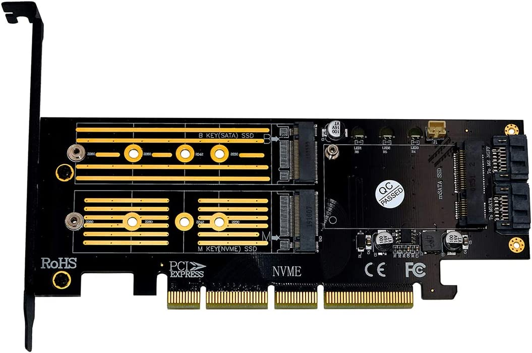 Yellow JMT Upgrad 3 in 1 Msata M.2 NVME SATA SSD to PCI-E 4X PCIE 4.0 3.0 and SATA3 Adapter Converter Riser Card with Cooling Heat Heatsink