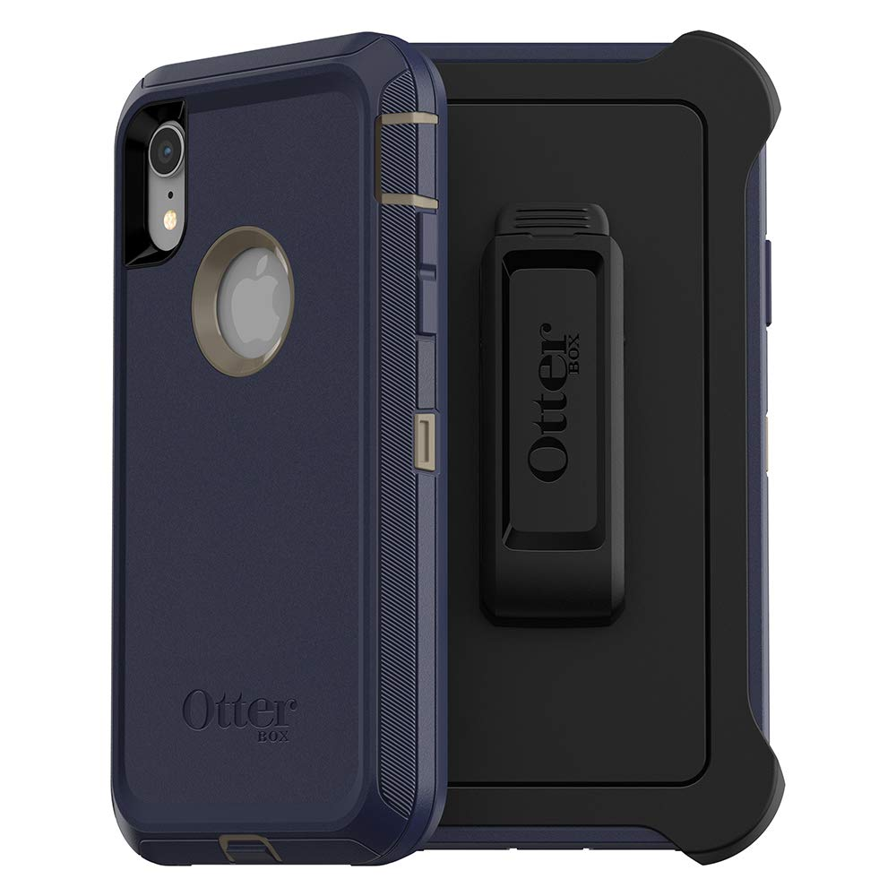 OtterBox Defender Series SCREENLESS Edition Case for iPhone Xr - Retail Packaging - Dark Lake (Chinchilla/Dress Blues)