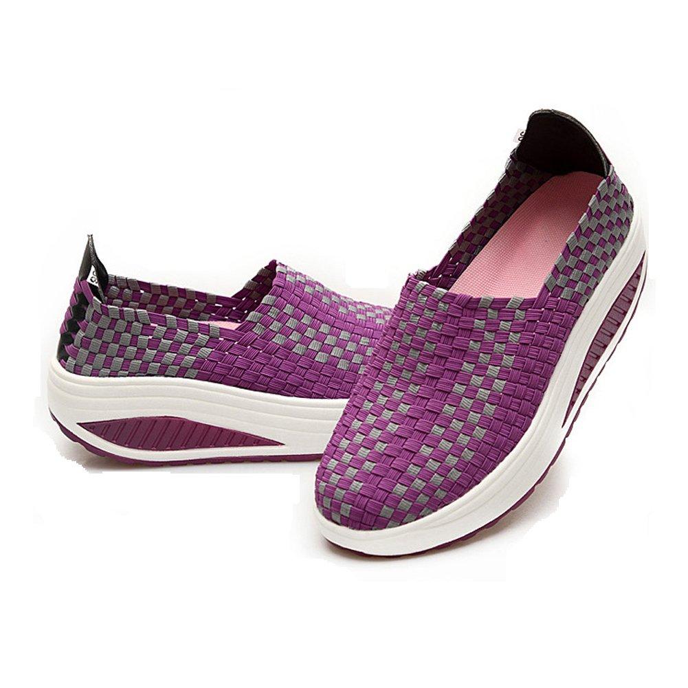 Konfor Women's Lightweight Woven Shape Ups Sneaker Fitness Work Out Slip-on Shoes B074B3SQQ2 8.5/9 B(M) US = EU40|Purple
