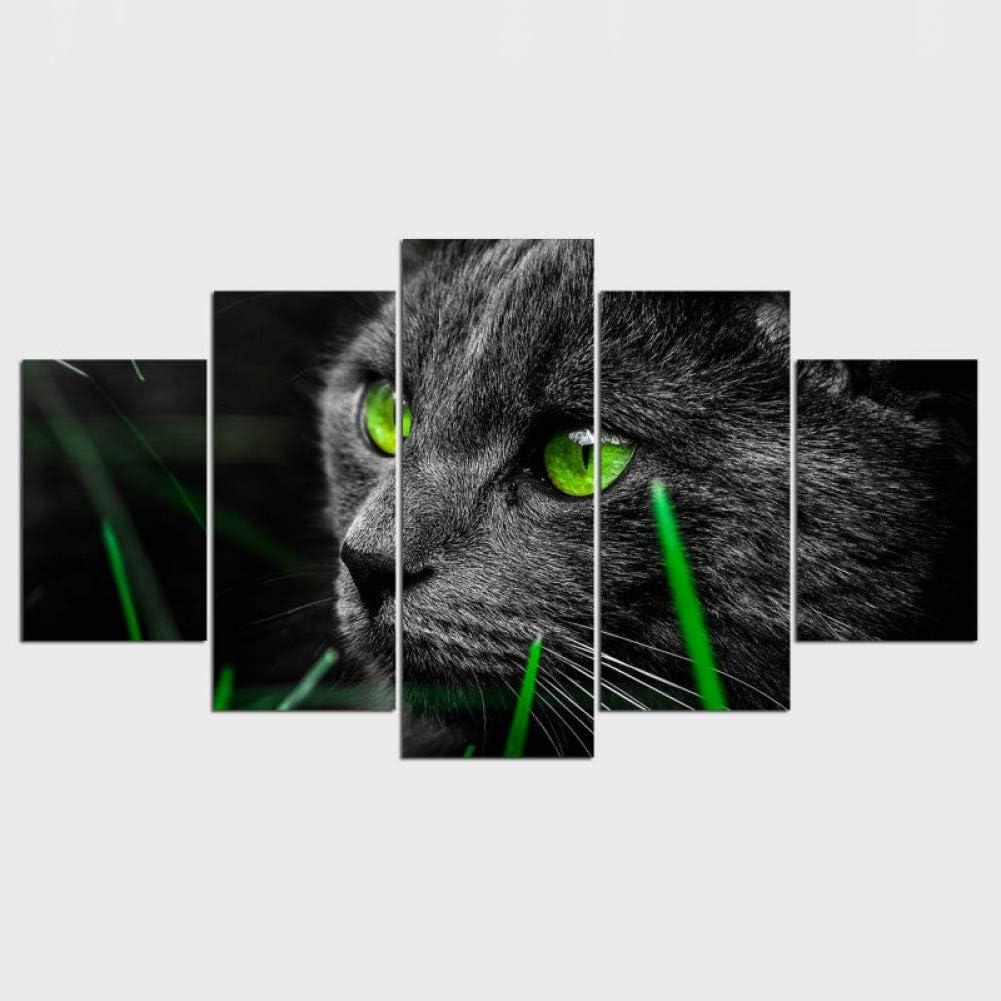 XGDDSS 5 lienzos 5 Piezas Lienzo Cuadros Gato Negro Ojos Verdes Sala de Estar para Pinturas murales Cuadros modulares Modernos Sin Marco