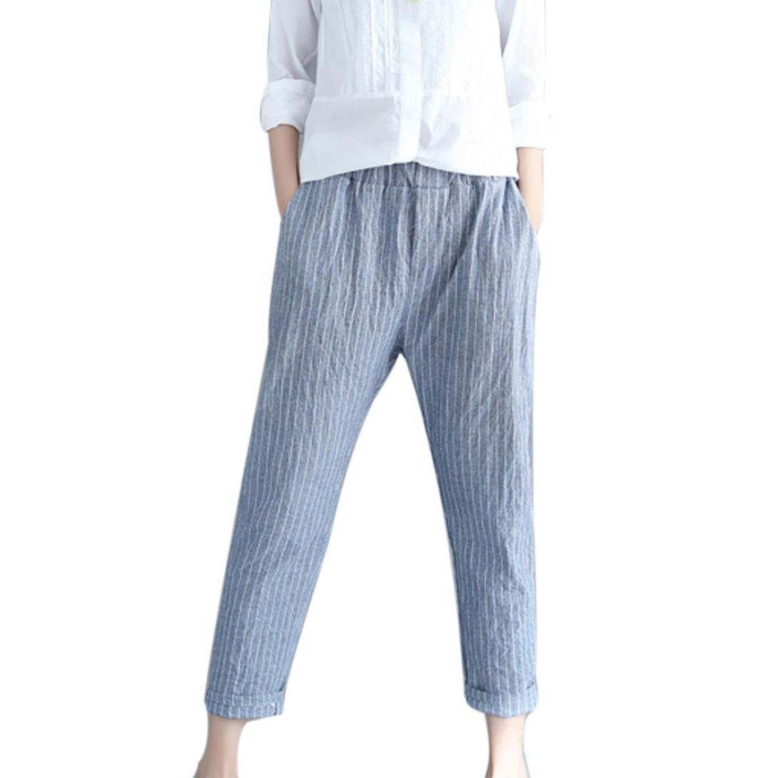 Spbamboo Woman Linen Striped Harem Pants Loose Striped Full Pants Casual Pants by Spbamboo