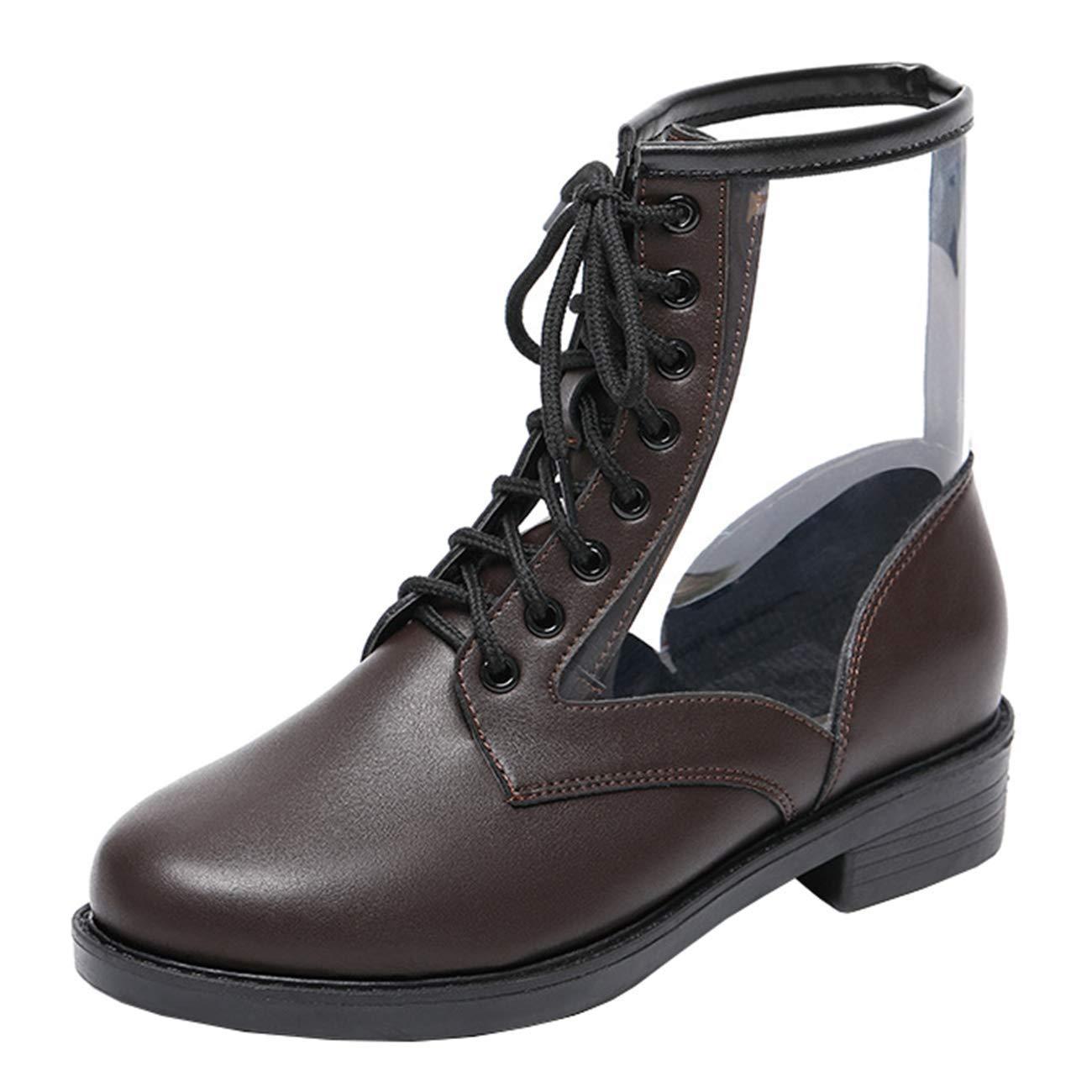 Eeayyygch Damen Runde-Toe (Farbe Block-Heel Schnürstiefeletten (Farbe Runde-Toe   Braun, Größe   4 UK) 6fa4f7
