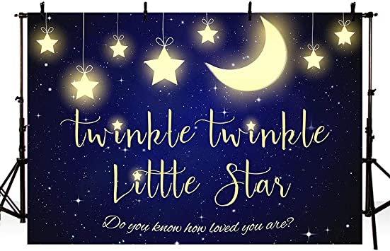 OERJU 7x5ft Twinkle Twinkle Little Star Backdrop Starry Sky Moon and Stars Baby Shower Background for Photography Birthday Party Banner Baby Newborn Photo Wallpaper