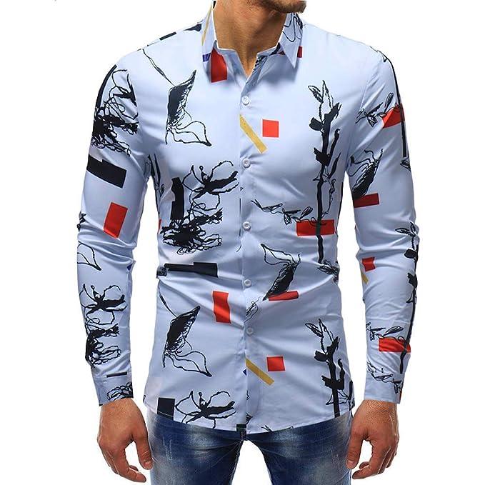 Bestow Blusa Impresa de la Manera de los Hombres Camisa Ocasional de Manga Larga Camisas Tops Print Top Invierno: Amazon.es: Ropa y accesorios