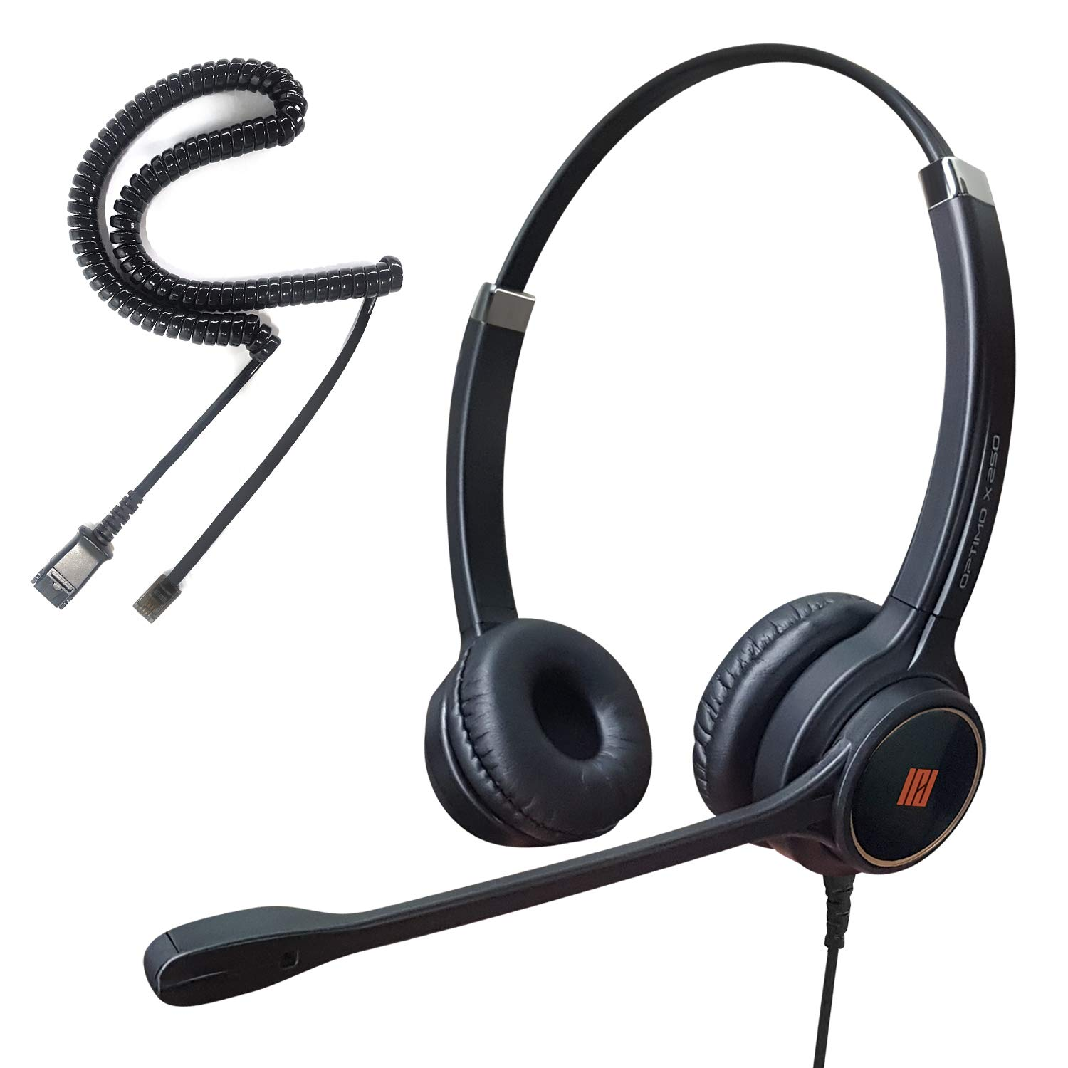 IPD IPH-255 Optimo-X Duo Ear Noise canceling,Corded Headset for Call Center,Office and Landline Phones w U10P Bottom Cable w RJ9 Jack Works with Poycom,Avaya,Nortel, Mitel and Most IP Phones