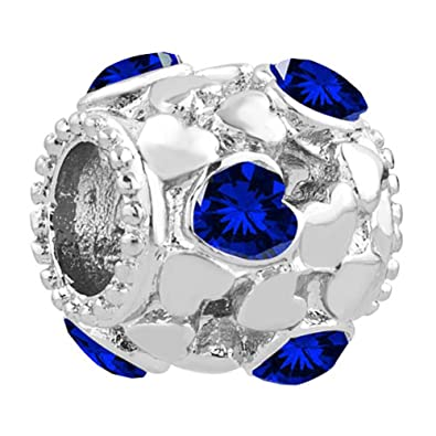 9315cd80f Uniqueen Blue Crystal Heart Birthstone Filigree Spacer Charms fit Bracelet:  Amazon.co.uk: Jewellery